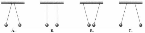 Четыре пары лёгких шариков одинаковой массы подвешены на шёлковых нитях