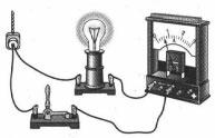 Амперметр включён в электрическую цепь