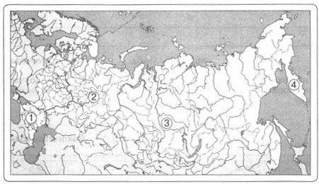 Определите края, обозначенные на карте