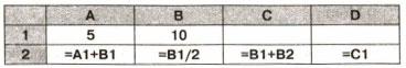 фрагмент электронной таблицы 1 вариант