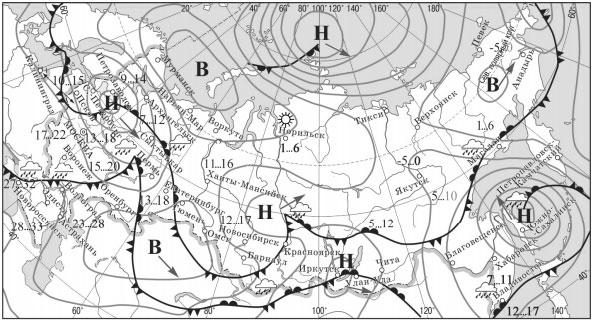 Карта прогноза погоды