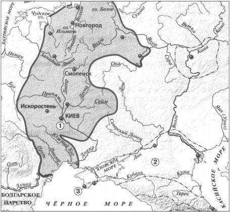 Карта Восточные славяне и их соседи в IV-IX вв. 1 вариант