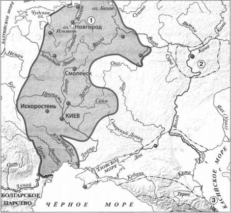 Карта Восточные славяне и их соседи в IV-IX вв. 2 вариант